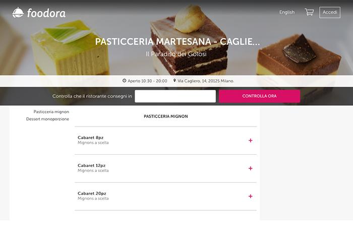 Ordinare i tuoi dolci Martesana Milano preferiti online? Ora c'è anche Foodora